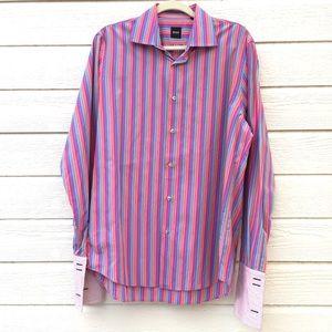 Hugo Boss | rainbow stripe button front shirt